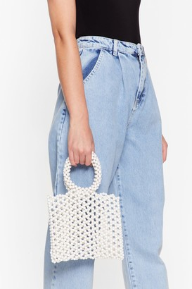 Nasty Gal Womens WANT Good Pearls Go Bad Beaded Tote Bag - White