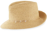 Eric Javits Mustique Squishee Packable Sun Fedora Hat, Beige
