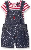 U.S. Polo Assn. Girls' Stars and Striped Bib Shortall and T-Shirt