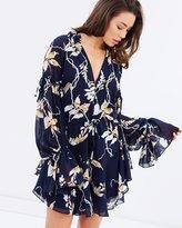 Shona Joy Curacao Tie Sleeve Drawstring Mini Dress