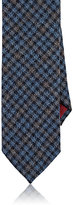 Luciano Barbera Men's Checked Woven Cashmere Necktie-BLUE, LIGHT BLUE
