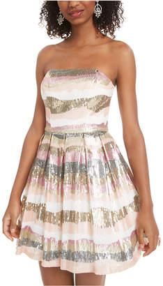 B. Darlin Juniors' Sequined Strapless Dress