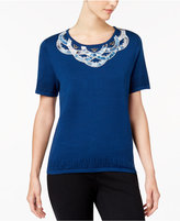 Alfred Dunner Petite Embellished Pointelle-Knit Sweater