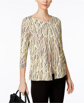 Alfani Petite Printed Split-Front Top, Only at Macy's