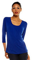 Susan Graver Essentials Liquid Knit 3/4 Sleeve Top with Shirring