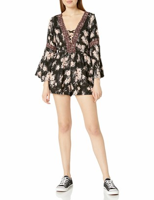 Angie Women's Bell Sleeve Lace Up Printed Romper