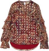 Haute Hippie Metallic ruffled printed silk-blend voile blouse