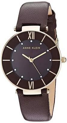 Anne Klein Women's Swarovski Crystal Accented Gold-Tone and Dark Brown Leather Strap Watch