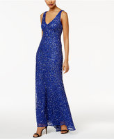 Adrianna Papell Beaded Open-Back Fishtail Gown