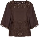 Max Mara Weekend CATONE short sleeve broderie cotton mix top
