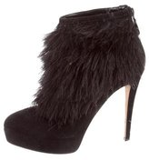 Brian Atwood Feather-Accented Platform Booties