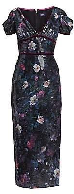 Marchesa Women's Sequin Print Floral Sheath Dress