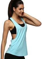 Imixshop Women Racerback Loose Yoga Running Tank Top Fitness Seeveless T-Shirt Blouse (US 4, Light Blue)