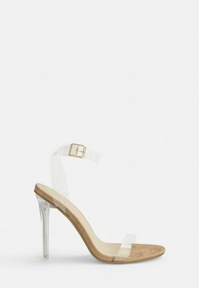 Missguided Nude Clear Strap Barely There Stiletto Heels