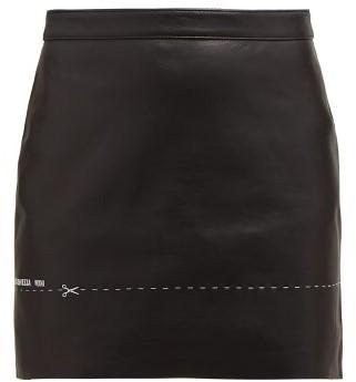 Vetements Embroidered Leather Mini Skirt - Black