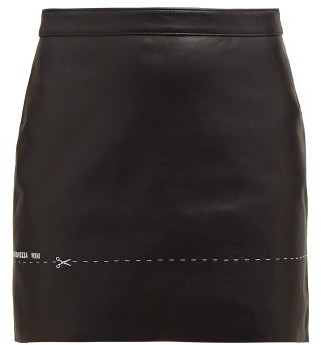 Vetements Embroidered Leather Mini Skirt - Womens - Black