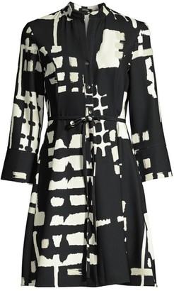 Natori Block-Print Tie-Waist Shirt Dress