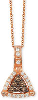 LeVian Neo Geo Le Vian Chocolatier® Chocolate and Vanilla Diamond Triangle Pendant Necklace (1/4 ct. t.w.) in 14k Rose Gold