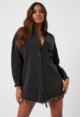 Missguided Petite Black Oversized Denim Shirt Dress