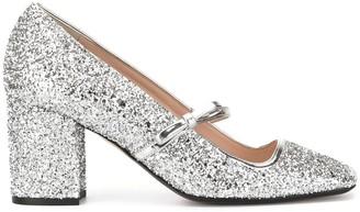 No.21 glitter Mary-Jane pumps