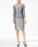 Le Suit Three-Button Herringbone Skirt Suit