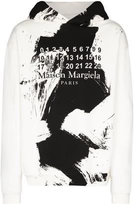 Maison Margiela Paint Effect Logo Cotton Hoodie
