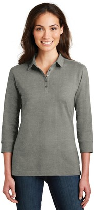 Port Authority Ladies 3/4-Sleeve Meridian Cotton Blend Polo. L578 Monument Grey M