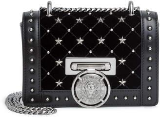 Balmain Baby Box black velvet studded shoulder bag
