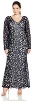 """Marina Women's Plus-Size A/O Lace Long Gown with Long Sleeve and """"V"""" Front"""