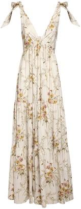 Brock Collection Floral Print V Neck Poplin Long Dress