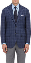 Kiton Men's Plaid Cashmere-Silk Two-Button Sportcoat-NAVY, BLUE