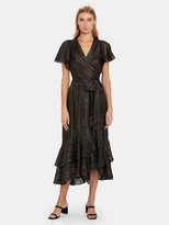 Diane von Furstenberg Donnie Silk Metallic Faux Wrap Midi Dress