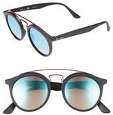 Ray-Ban Women's Highstreet 49Mm Gatsby Round Sunglasses - Blue/ Black