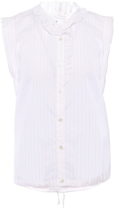 Stateside Ruffle-trimmed Bow-detailed Pinstriped Cotton-poplin Top