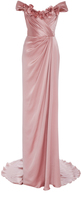 Marchesa Off the Shoulder Satin Gown