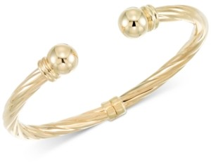 Italian Gold Rope-Style Hinged Cuff Bracelet in 14k Gold