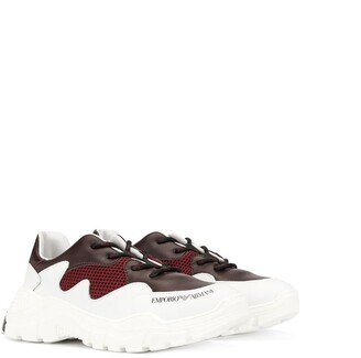 Emporio Armani Kids panelled lace-up sneakers