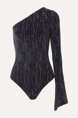 Alix Eldridge One-sleeve Metallic Stretch-knit Thong Bodysuit - Midnight blue