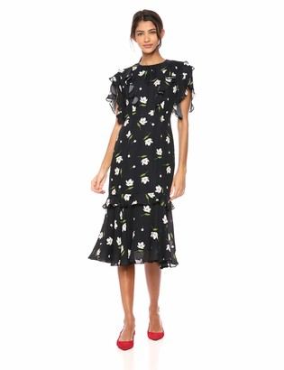 Milly Women's Floral Print on Georgette Short Gia Dress Black/White 10