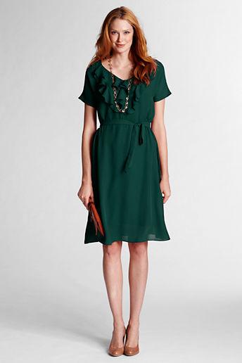 Lands' End Women's Petite Solid Ruffle Front Georgette Dress