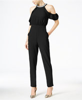 XOXO Juniors' Cold-Shoulder Ruffled Jumpsuit