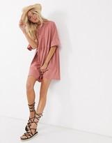 Asos Design DESIGN super oversized frill sleeve smock dress in rose