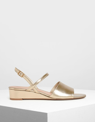 Charles & Keith Low Wedge Ankle Strap Sandals