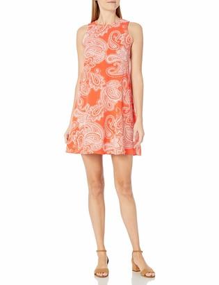Sandra Darren Women's Sleeveless Printed Crinkled Crepe Trapeze Dress