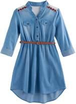 My Michelle Girls 7-16 Belted Chambray Shirtdress