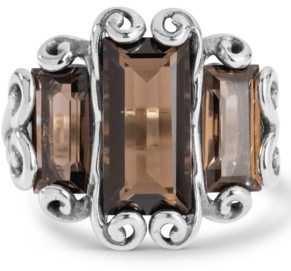 Carolyn Pollack Triple Brown Quartz (7 ct. t.w.) Faceted Rectangle Ring in Sterling Silver