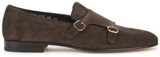 Santoni Brown suede monk-strap shoes