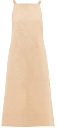 Lee Mathews Workroom Patch-pocket Side-slit Cotton Dress - Camel