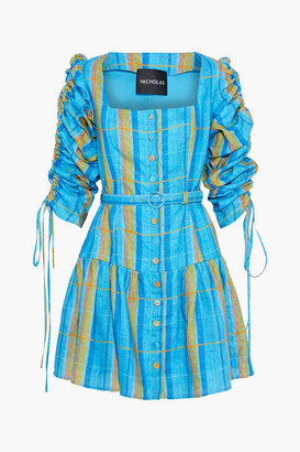 Nicholas Belted Ruched Checked Linen Mini Dress