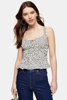 Topshop Womens Black And White Heart Print Shirred Cami - Monochrome